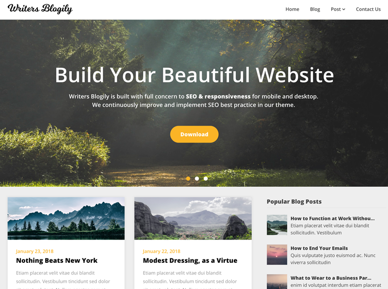 Writers Blogily, a great theme for affiliate marketing