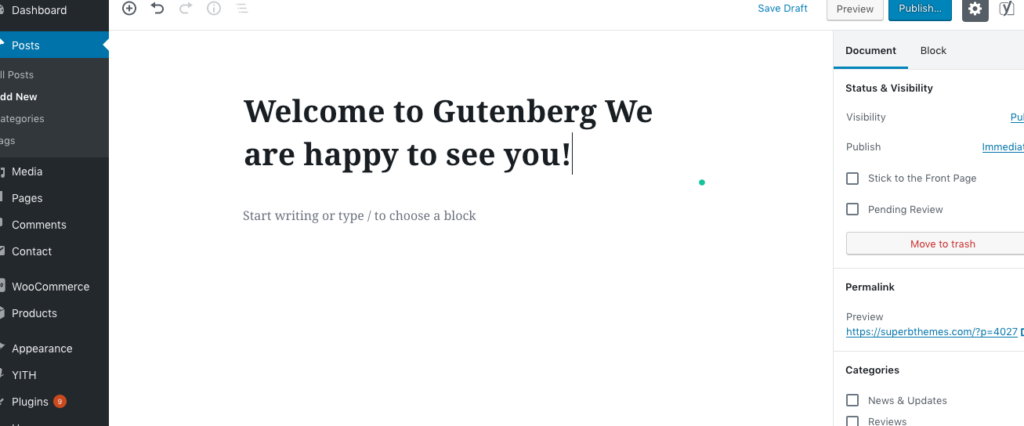WordPress-Gutenberg-welcome