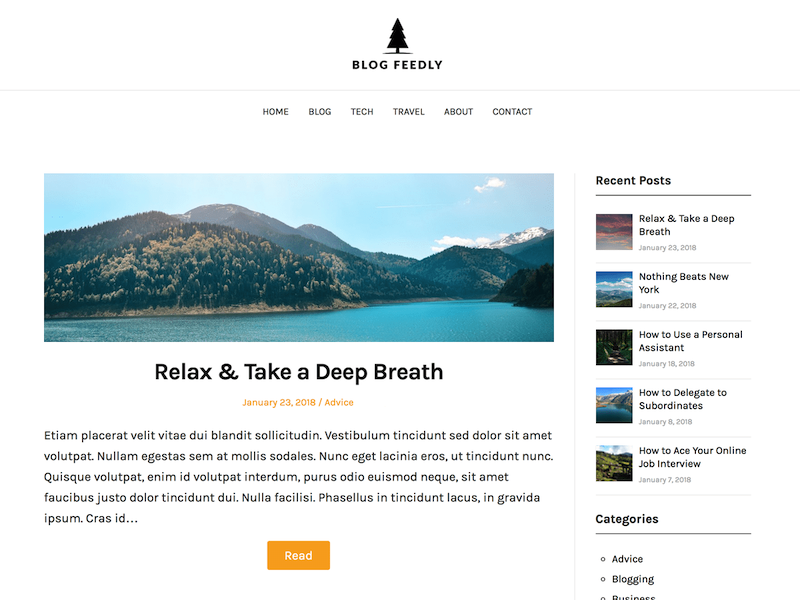 Blogfeedly is the second most  carbon neutral WordPress theme