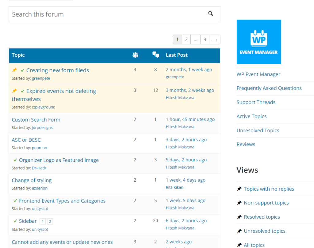 Support features of WP Event Manager