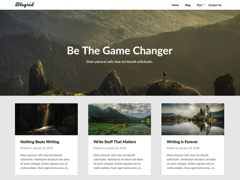 Blogrid, a search engine optimized WordPress theme