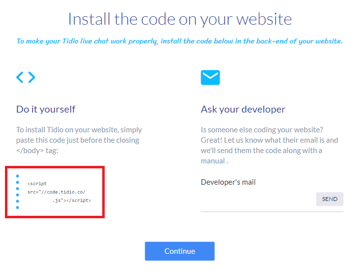 tidio install HTML code easily