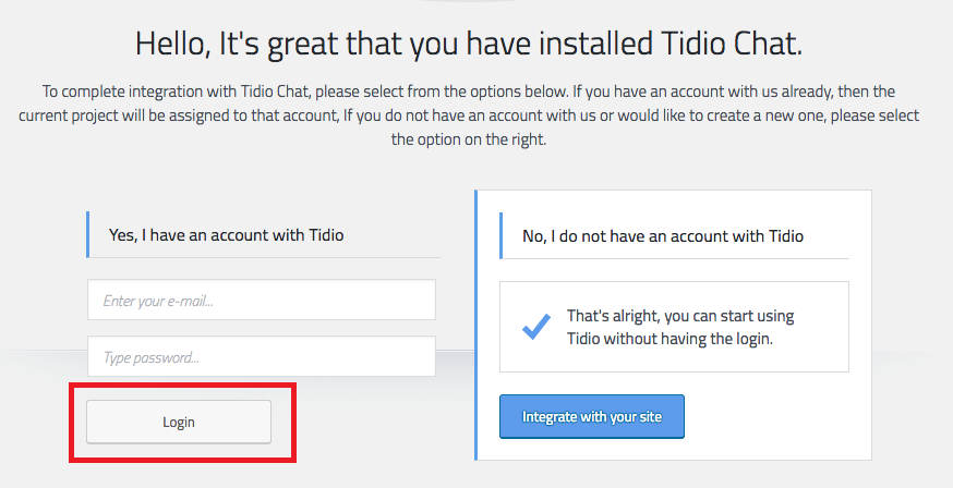 tidio already installed