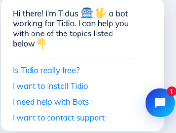 tidio chat bot demo