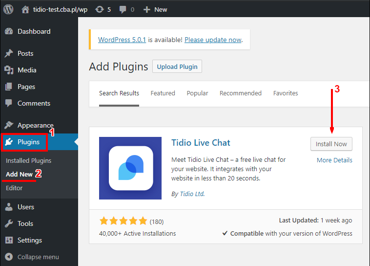 How to install tidio