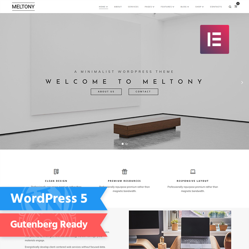Meltony WordPress theme made for Elementor the Page Builder