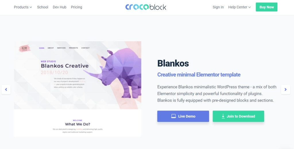 Blankos Elementor compatible wordpress themes