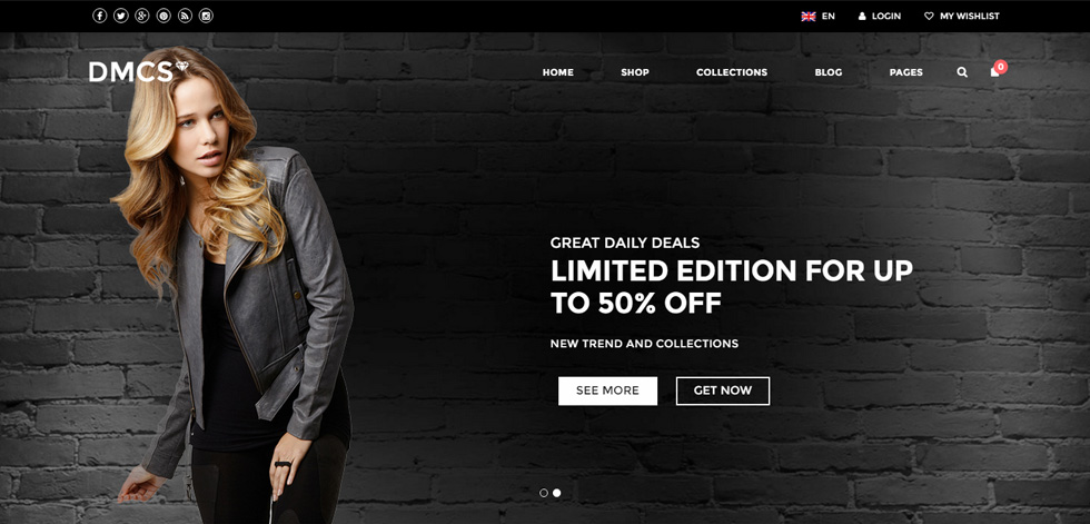 dcms wordpress theme for eCommerce websites