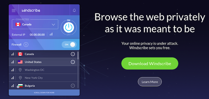 Windscribe, a fast VPN provider