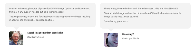 Ewww.io image optimizer testimonials