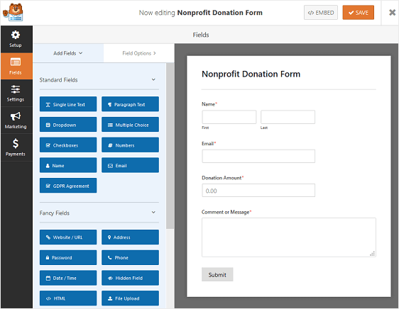 WPForms Nonprofit Donation Form