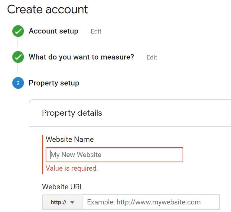 enter in the name of your site as well as the URL that you want to start tracking