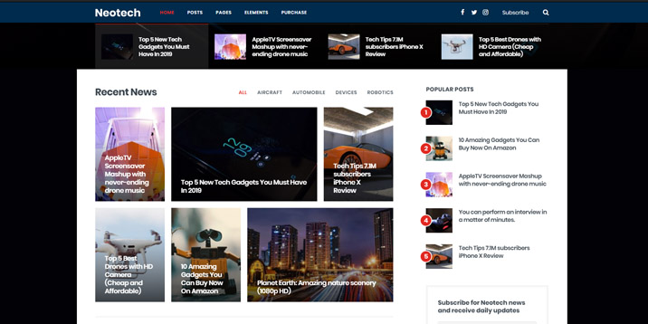 NEOtech is a WordPress theme for review websites, it's available on Themeforest.com