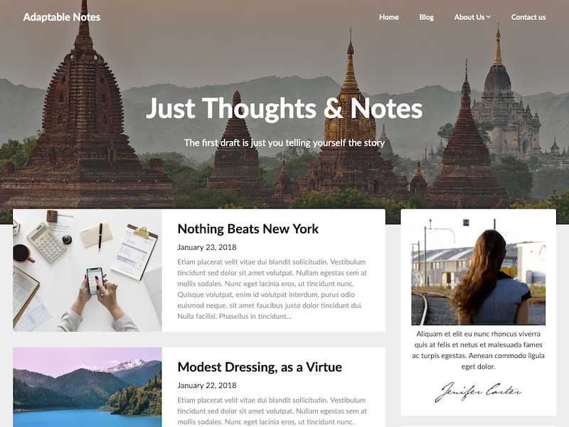 Adaptable notes, a blog theme made for affiliate marketing