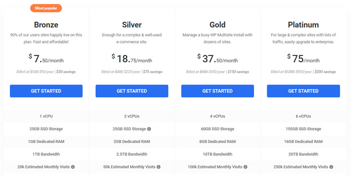 WPMU DEV Hosting offers four plans. The plans' prices are pretty reasonable, and WPMU DEV Hosting is a bargain considering the value you get.