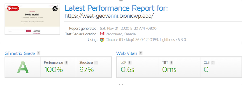BioNicWP report generated