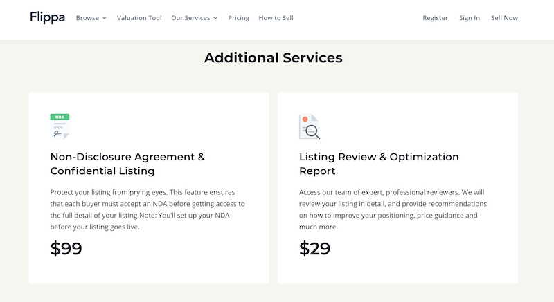 Flippa pricing additional services