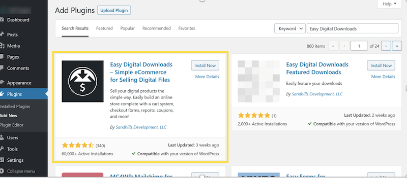Install and Activate the Easy Digital Downloads Plugin