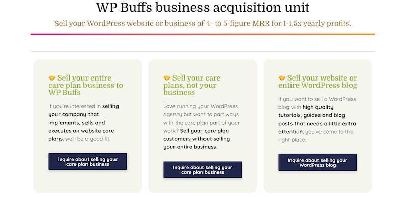 WP Buffs business acquisition