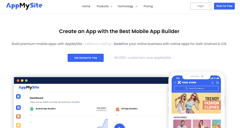 AppMySite review front page